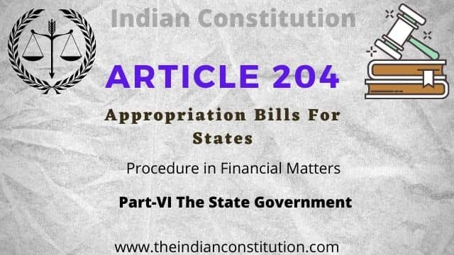 Article 204 State Appropriation Bill In The Indian Constitution