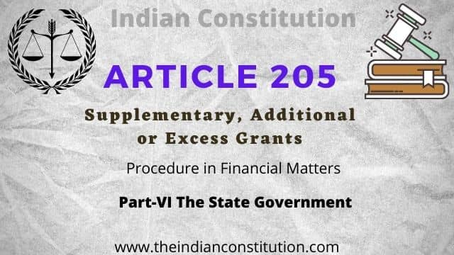 Article 205 of The Indian Constitution