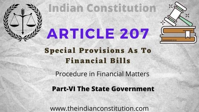 Article 207 Special Provisions For Financial Bill In Indian Constitution