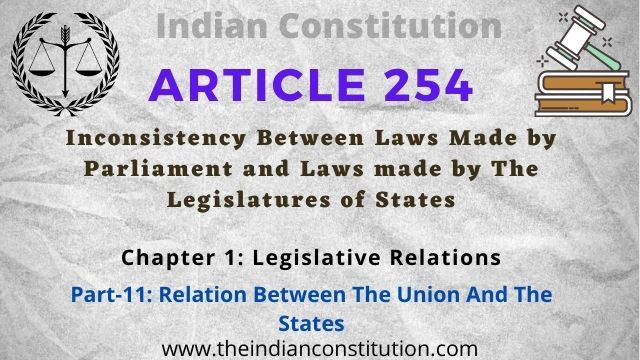 Article 254 Inconsistency between laws made by Parliament and laws made by the Legislatures of States