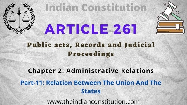 Article 261 Public Acts, Records And Judicial Proceedings