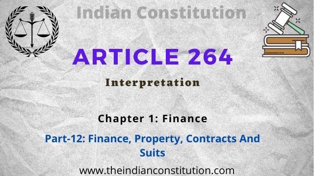 Article 264 Interpretation of Finance Commission