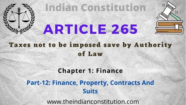 Article 265 Taxes not to be imposed save by authority of law