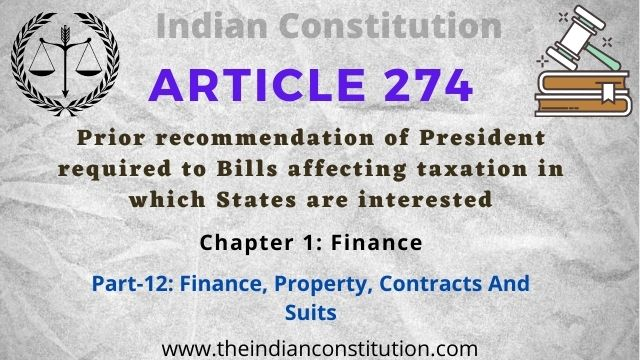 Article 274 President Recommendation Required to Bills Affecting Taxation in States