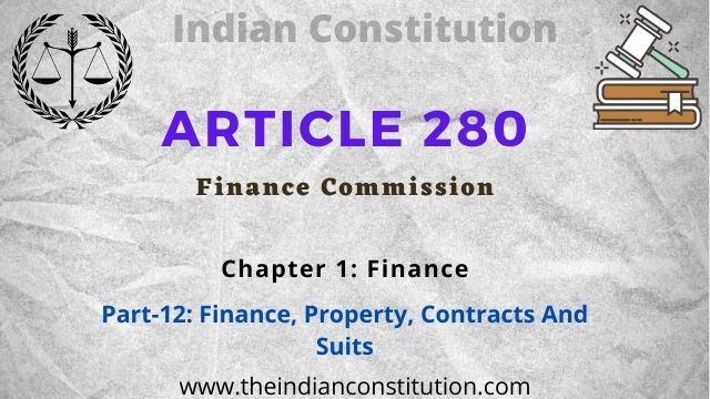 Article 280 Finance Commission of The India