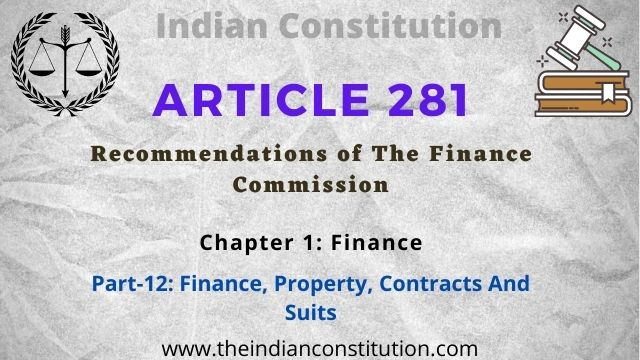 Article 281 Recommendations of The Finance Commission