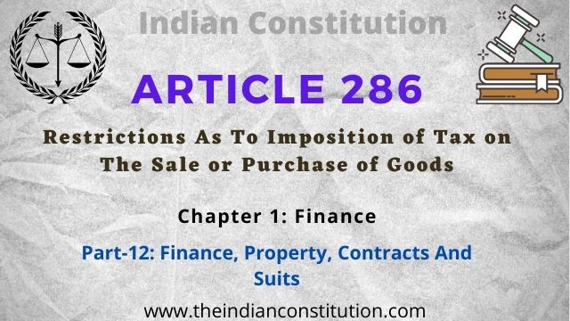 Article 286 Restrictions As To Imposition of Tax on The Sale or Purchase of Goods